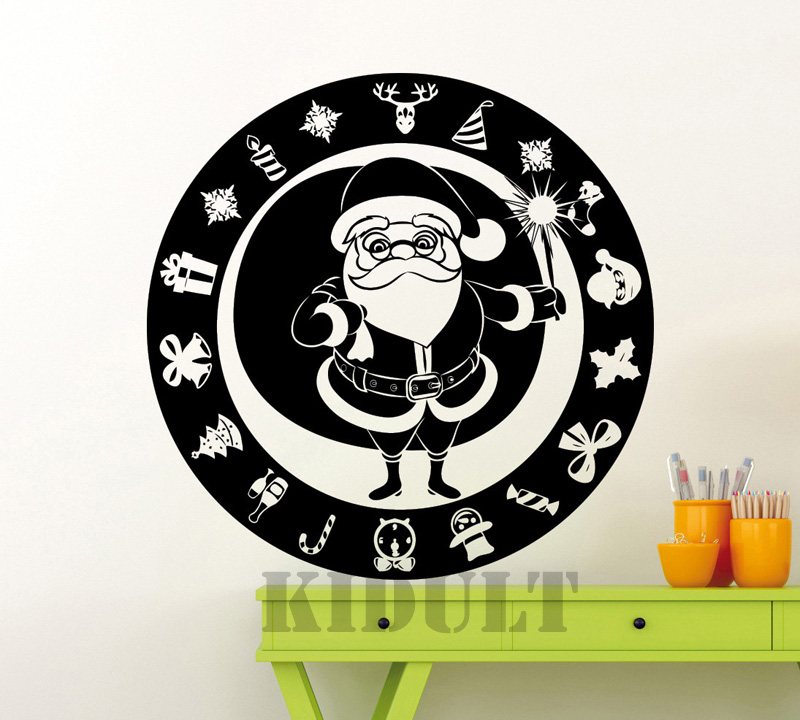 Household Items Home Decor Wall Stickers Santa Claus Winter Christmas New Year Gift Free Shipping Vinyl Wall Decal