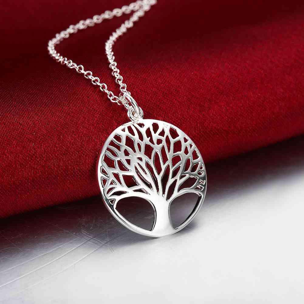 Kurangi Promosi Uang! 925 perhiasan, Kalung warna perak, & Liontin, Pohon kehidupan collares, populares joias SMTN802