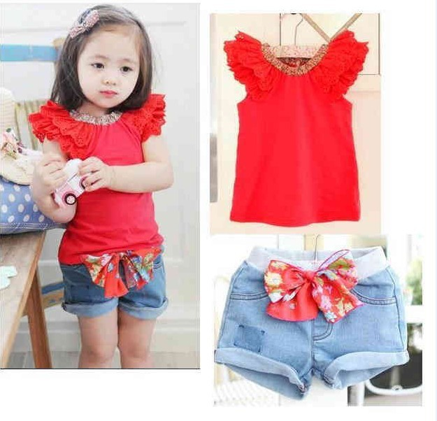 a98699cdff698 US $63.72 |Fashion baby girls summer clothing girls red Multi layered lace  sleeves t shirt + new pant two piece set Beautiful clothing-in Clothing ...