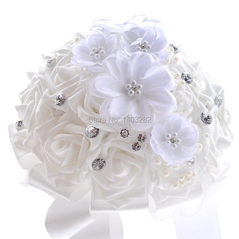 2016 Luxury Crystal Wedding Bouquets White Bridal Silk Bouquet Mariage Handmade Bridesmaid Bouquets Ramos De Novia 2