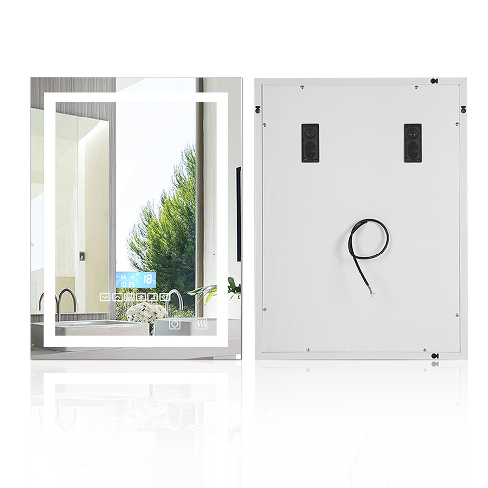Modern LED Vanity Mirror Bathroom Makeup Mirror Wall Light Square Illuminated toilet fog light mirror with Bluetooth Speaker HWC