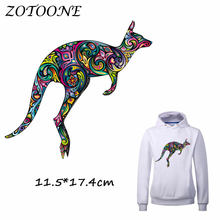 ZOTOONE Colorful Kangaroo Patch for Clothes T Shirt Ironing on Patches Stickers DIY Heat Transfer Accessory Washable Appliques C(China)