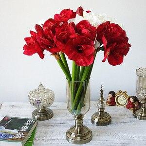 4 unids/lote Artificial flor Amaryllis fleurs di apuzzo Salvatore para casa decoración mesa de boda flores de seda Hippeastrum flores