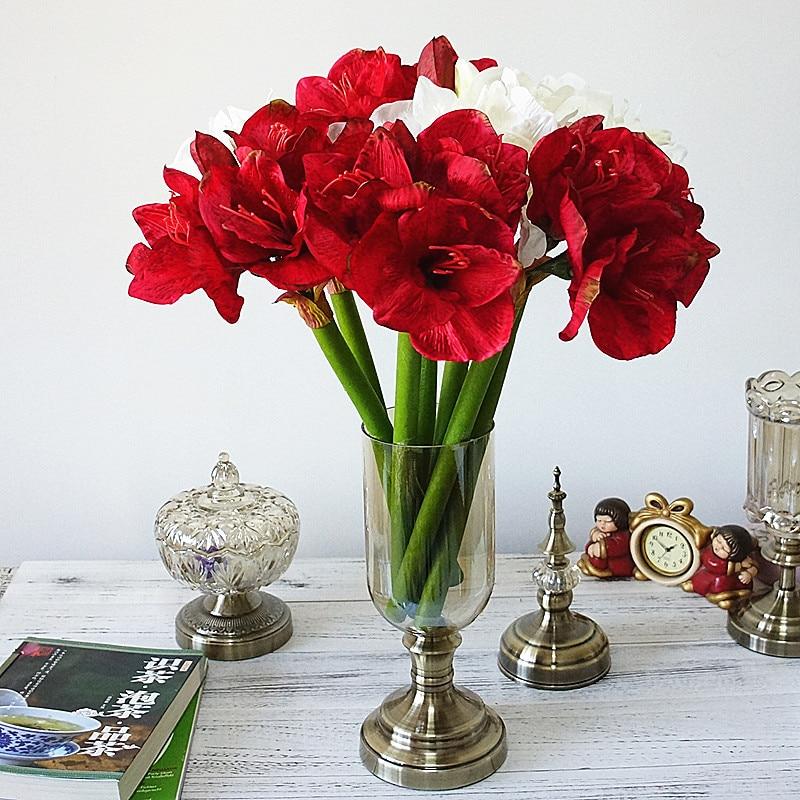 4pcslot artificial amaryllis flower fleurs artificielles for home 4pcslot artificial amaryllis flower fleurs artificielles for home table wedding decoration silk flowers hippeastrum mightylinksfo