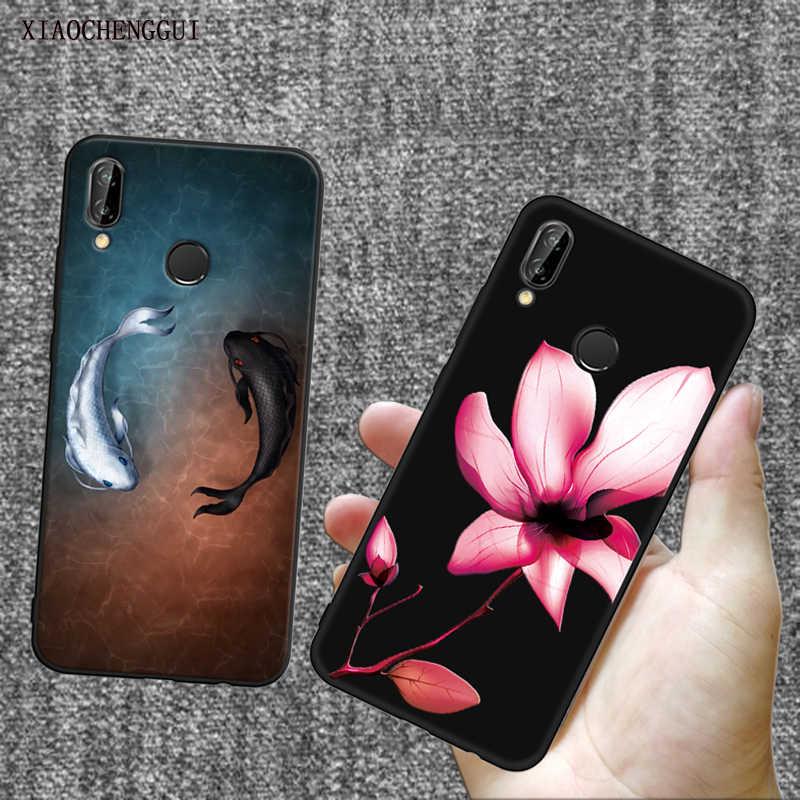 High-End Mewah 3D Bunga Tai Chi Ikan Hitam Silikon Lembut untuk Huawei P8 P9 P10 P20 Lite Pro Case ponsel Case Penutup