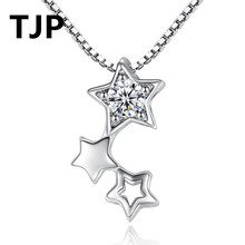 TJP New Fashion 925 Sterling Silver Pendant Neacklace For Women Wedding 3 Stars Design Crystal CZ Stones Necklace Girl Jewelry