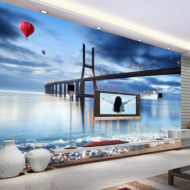 Custom Photo 3 D Wallpaper Wall Murals Living Room Home Decor Wood  Wallpaper 3d City Building