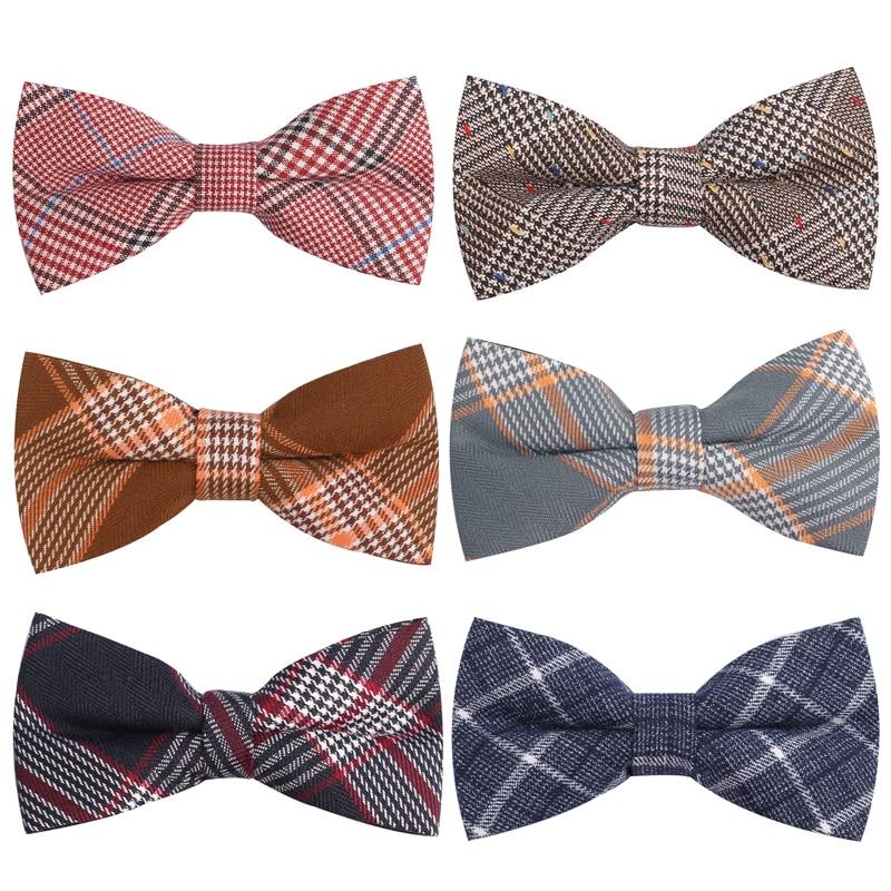 Men Bowtie Classic Cotton Bow tie For Men Bowknot Adult Plaid Bow Ties For Business Wedding Cravats