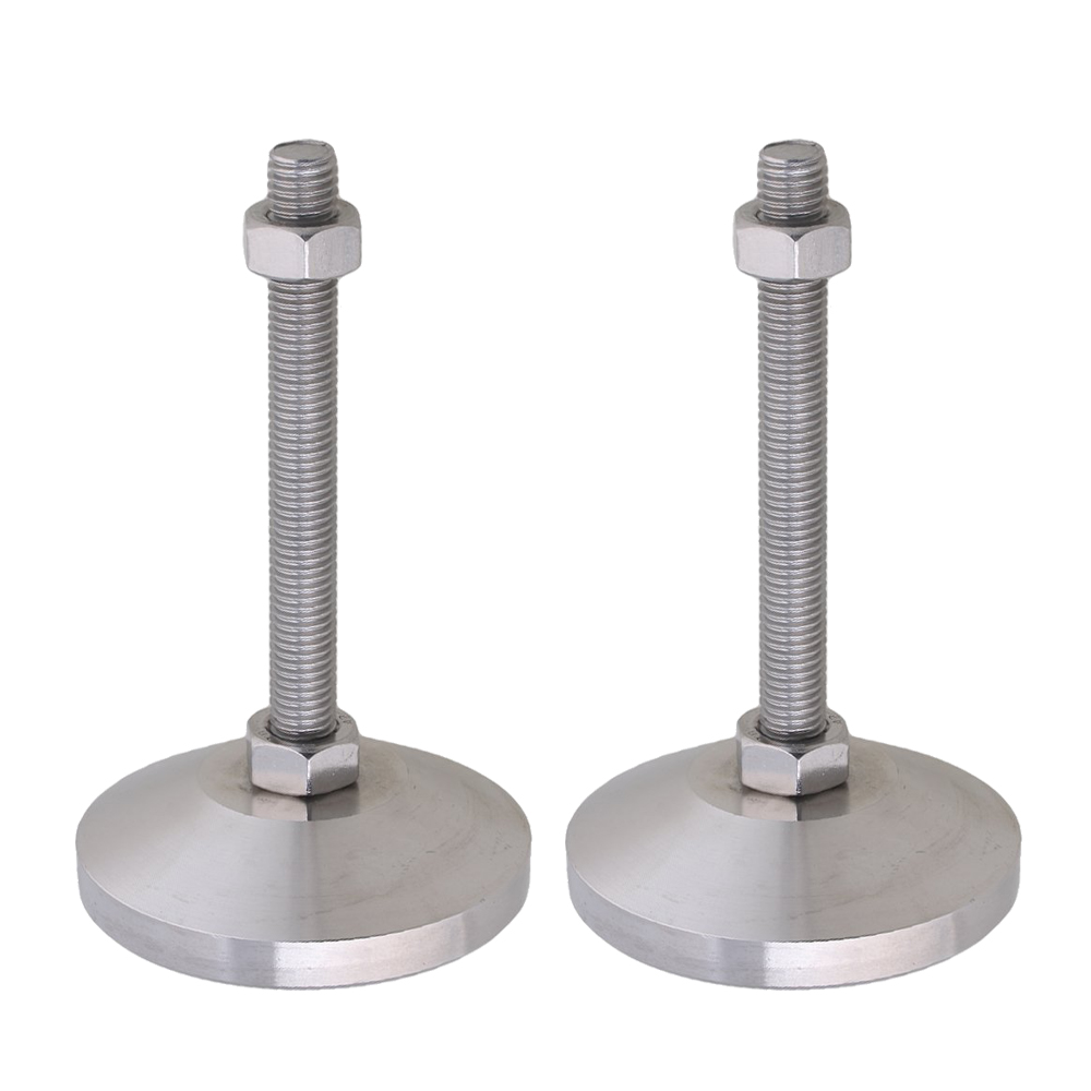 Stainless Steel 80mm Dia M12x100mm Thread Fixed Adjustable Feet For Machine Furniture Feet Pad Max Load 3Ton Pack Of 2
