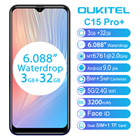 OUKITEL C15 Pro+ 6.088'' 19:9 Android 9.0 Cellphones 3GB 32GB MT6761 Waterdrop 4G Smartphone Fingerprint Face ID 5G WiFi Phone