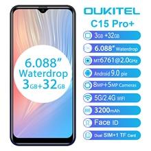 OUKITEL C15 Pro 6.088 19:9 Android 9.0 telefony komórkowe 3GB 32GB MT6761 Waterdrop 4G Smartphone linii papilarnych Face ID 5G telefon WiFi