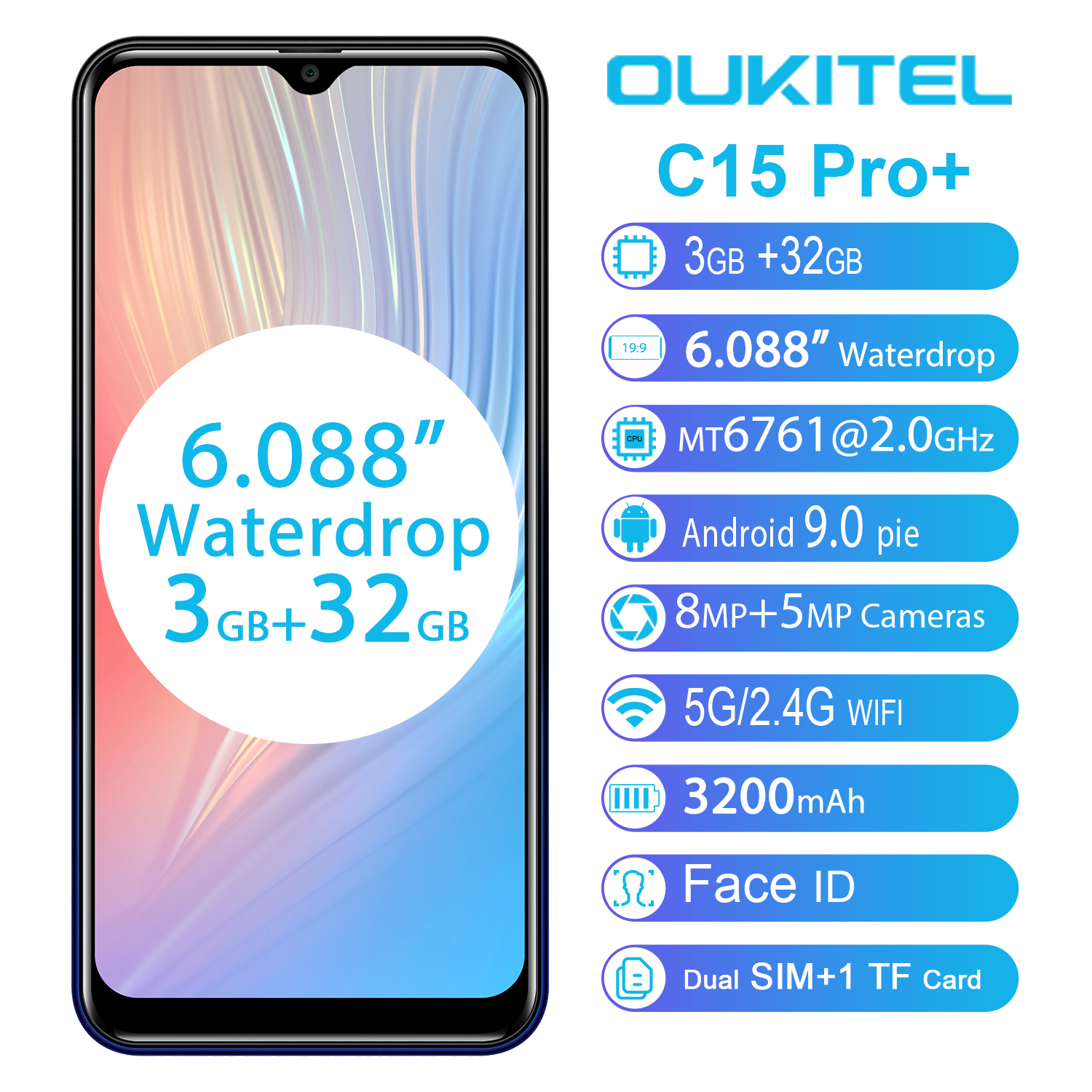 OUKITEL C15 Pro+ 6.088'' 19:9 <font><b>Android</b></font> <font><b>9.0</b></font> Cellphones 3GB 32GB MT6761 Waterdrop 4G <font><b>Smartphone</b></font> Fingerprint Face ID 5G WiFi Phone image