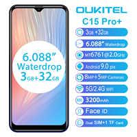 Oukitel c15 pro + 6.088 9.0 19:9 android telefones celulares 3 gb 32 gb mt6761 waterdrop 4g smartphone impressão digital face id 5g telefone wi-fi