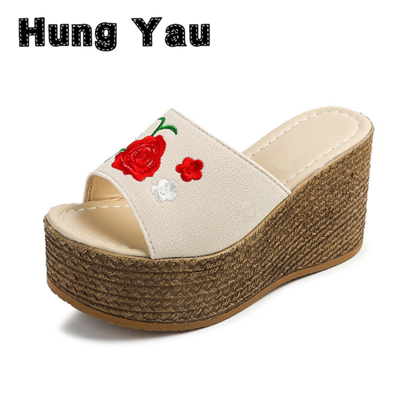 Retro Embroidery Women Wedges Sandals Summer Style Platform Shoes Woman Casual Thick High Heels Creepers Slippers Plus Size 9 phyanic 2017 gladiator sandals gold silver shoes woman summer platform wedges glitters creepers casual women shoes phy3323