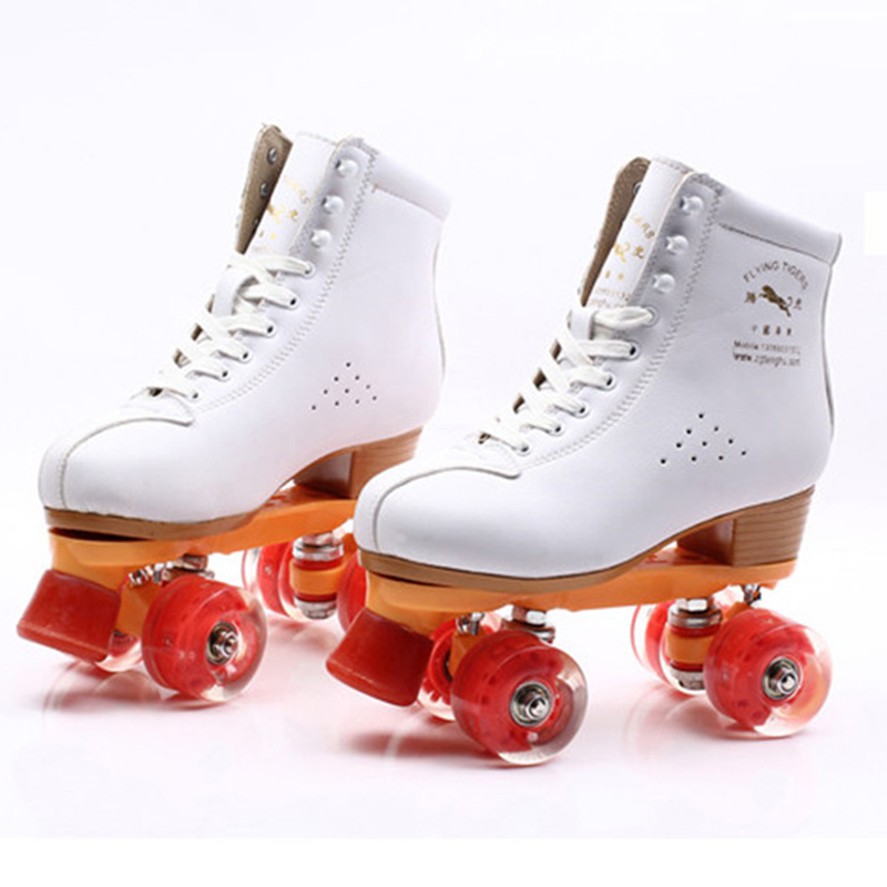 JAPY Roller Skates Geniune Leather Double Line Skate White Lady Adult Led Lighting PU 4 Wheels Two Line Skating Shoes Patines reniaever double roller skates skating shoe gift girls black wheels roller shoe figure skates white free shipping