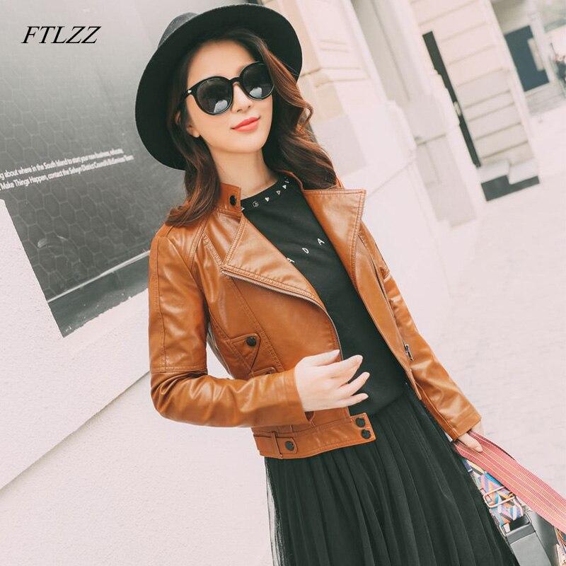 FTLZZ Women Elegant Zipper Faux   Leather   Biker Jacket Slim Brown Black Soft Moto Jacket Punk Outwear Short Street Jackets