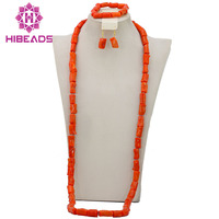 Free Shipping!2016 New African Longest Coral Beads Jewelry Set For Men Nigerian Wedding African Costume Jewelry Set CJ406
