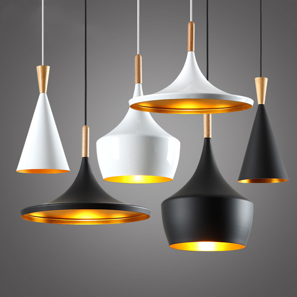 2016 Art Deco Led Pendant Lights e27 Socket Black/White, Loft Pendant Lamp Modern Lighting Fixtures for Bar Kitchen Dining Room nordic modern led pendant lamp creative imitation wood grain pendant lights e27 for kitchen dining room art deco bar ac110v 220v