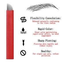 일회용 문신 바늘 Microblading 블레이드 50Pcs 12Pin 빨간 눈 썹 립 영구 메이크업 스테인리스 문신 수동 펜
