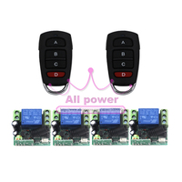 315/433MHZ DC12V 1CH remote control light on off switch 1Transmitter 4Receiver Momentary Toggle Latched with Relay indicator