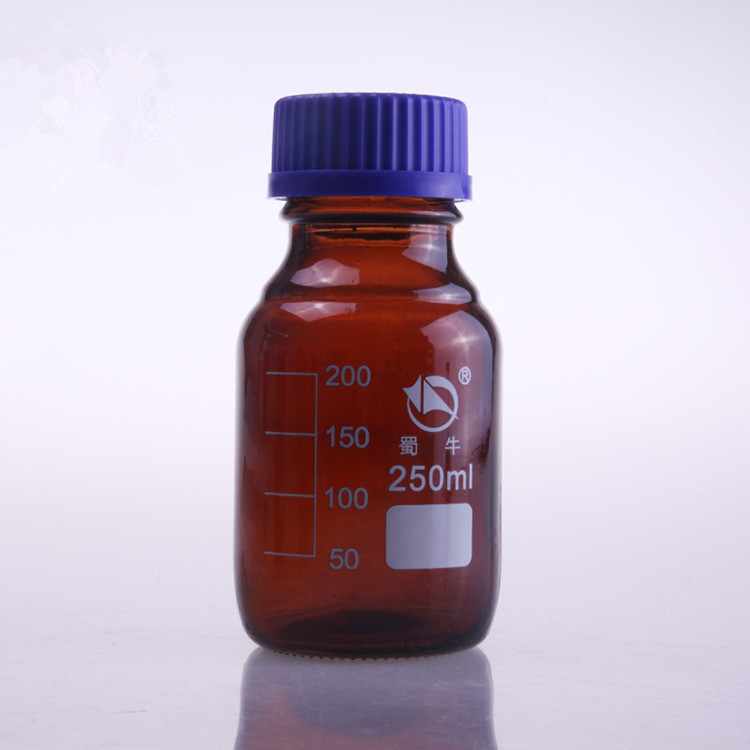 Free shipping 5pcs/lot 250ml glass brown screw on cover reagent bottle graduation