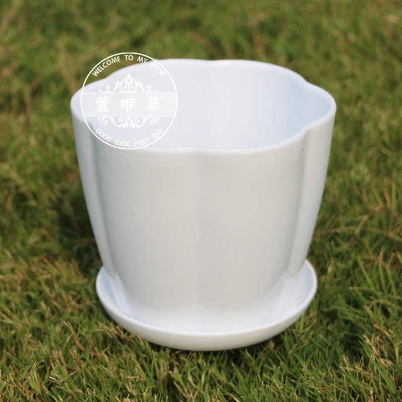 White Plastic Flower Potcolorful Planter For Bonsai Orchid Garden