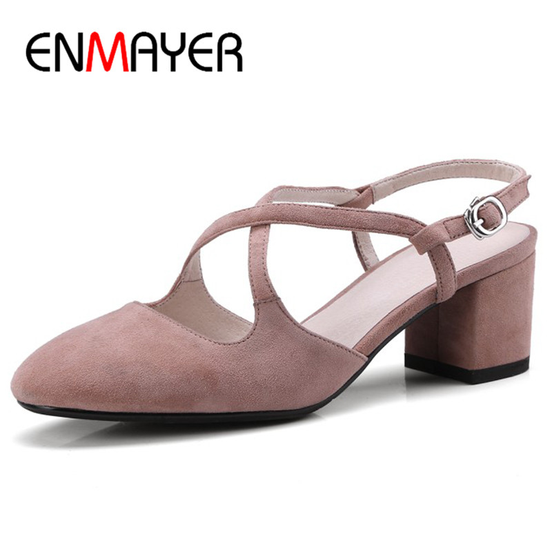 Фотография ENMAYER Cross-Tied Ankle Strap Shoes Woman High Heels Sandals Plus Size 34-42 Genuine Leather Shoes Round Toe Causal Shoes