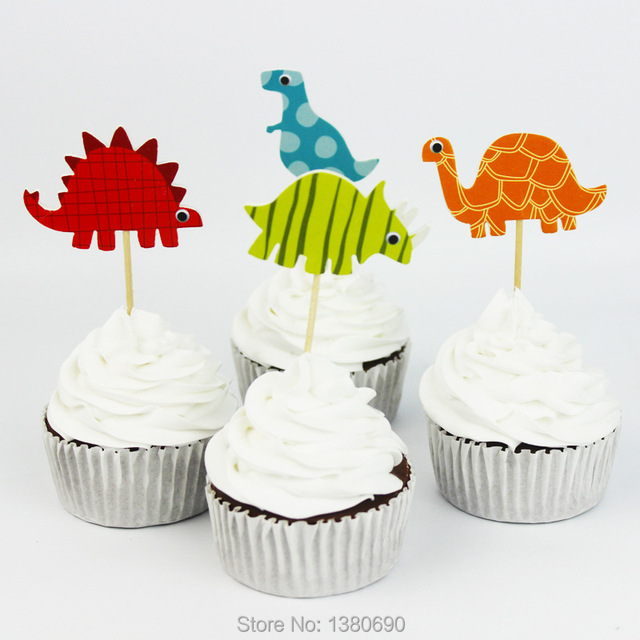 24pcs Cartoon Dinosaur Cupcake Wrappers and Cake Toppers Decoration