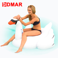 DMAR 150cm 59inches flatable Swan Giant Pool Float Toys Goose Inflatable Mattress Swimming Ring Circle Beach Water Party Toys