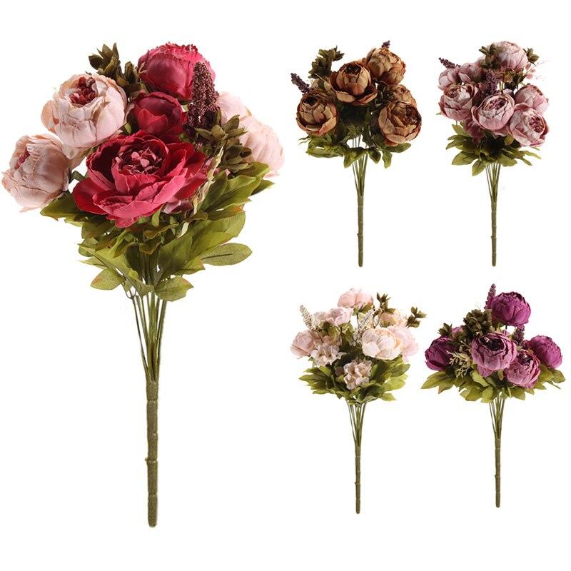Flores de peonía artificiales flores decorativas partido festival de navidad de