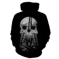 Mâle Grande Taille À Manches Longues Hoddies 3D Simple Patchwork Rayé Crâne Patchwork Impression Coton Sweats À Capuche Homme