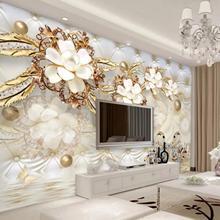 Пользовательские фото обои 3D фреска обои стикер 3d роскошный золотой белый цветок мягкая сумка глобус ювелирные изделия ТВ фон