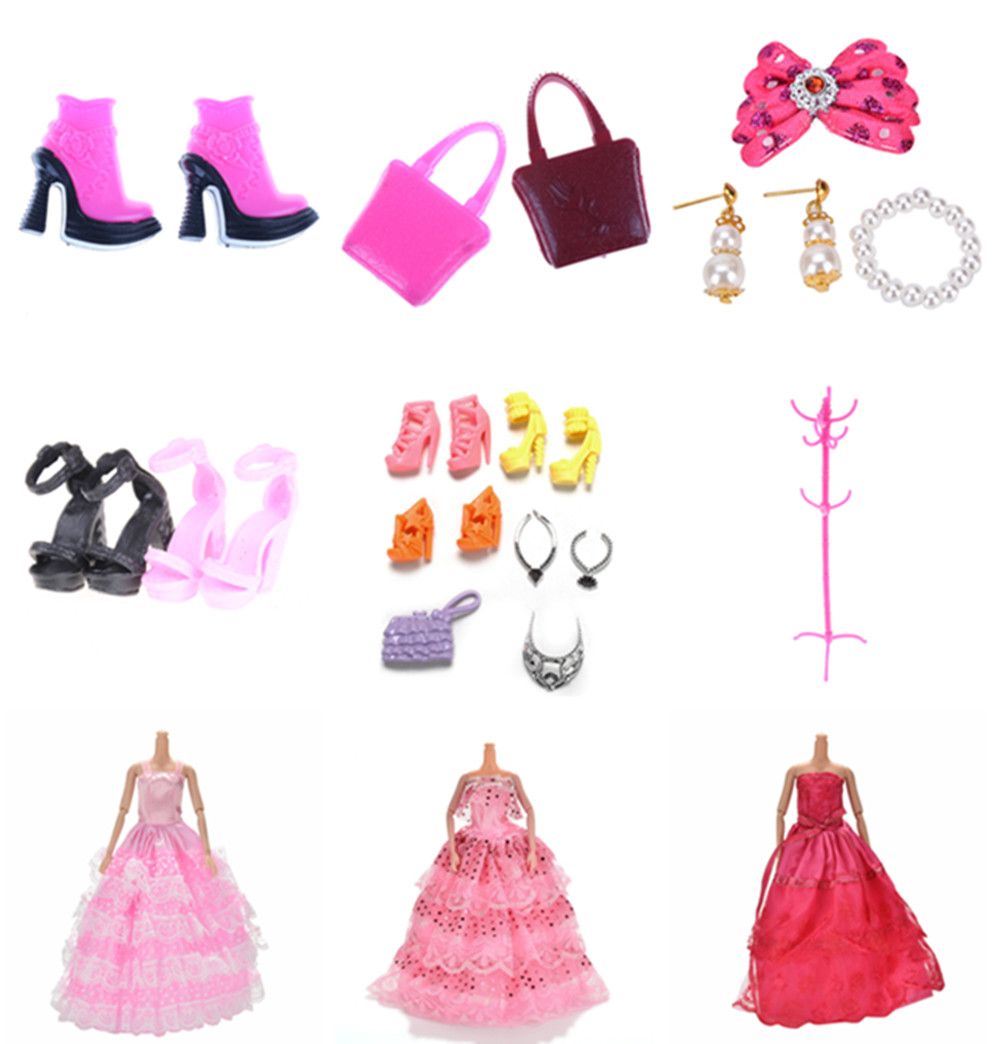 New Fashion Dolls Shoes Bags Skirts For Barbie Dolls Clothes Stand Play Hanger Jewellery Casual Dating Apparel Accessories