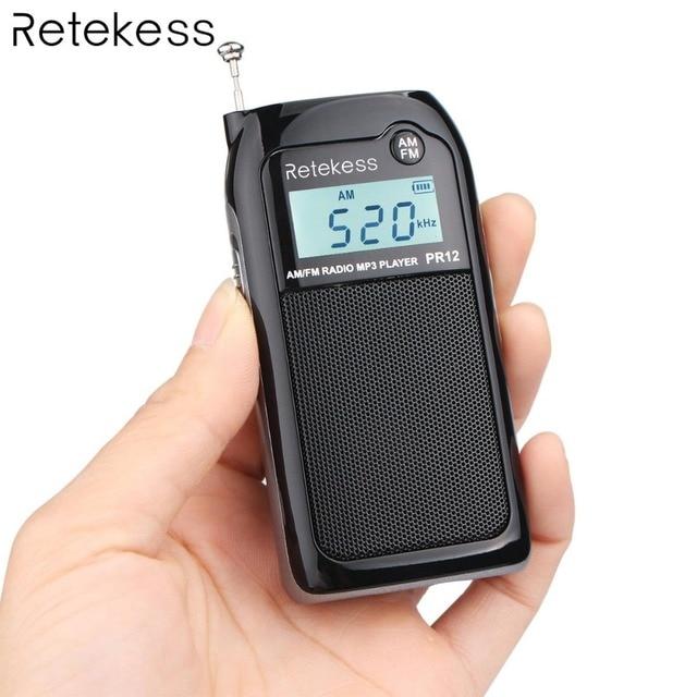Retekess PR12 Mini Pocket Radio FM AM Digital Tuning Radio Receiver MP3 Music Player Rechargeable Battery for Walking Camping
