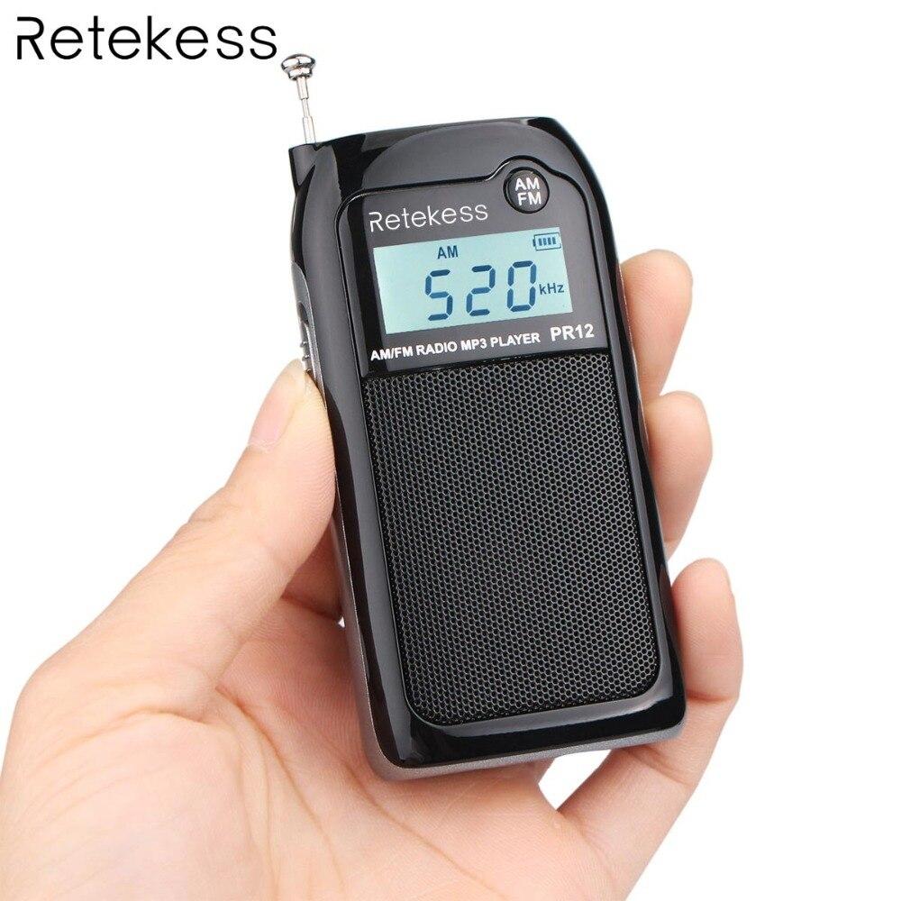Retekess PR12 Pocket Radio FM/AM Sintonia Digitale Ricevitore Radio MP3 Giocatore di Musica con la Batteria Ricaricabile