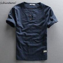 c5f4b17b2e04d8 2018 Schinteon Mężczyźni bawełniana pościel na lato Koszula Z Krótkim Rękawem  Slim Cienkie Koszule Granatowy Chiński