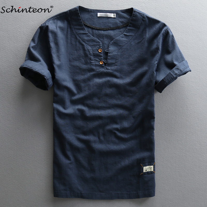 Schinteon Men Summer Cotton Linen Shirt Short Sleeve Slim Thin Shirts Navy Blue Chinese Style Comfortable Pullover
