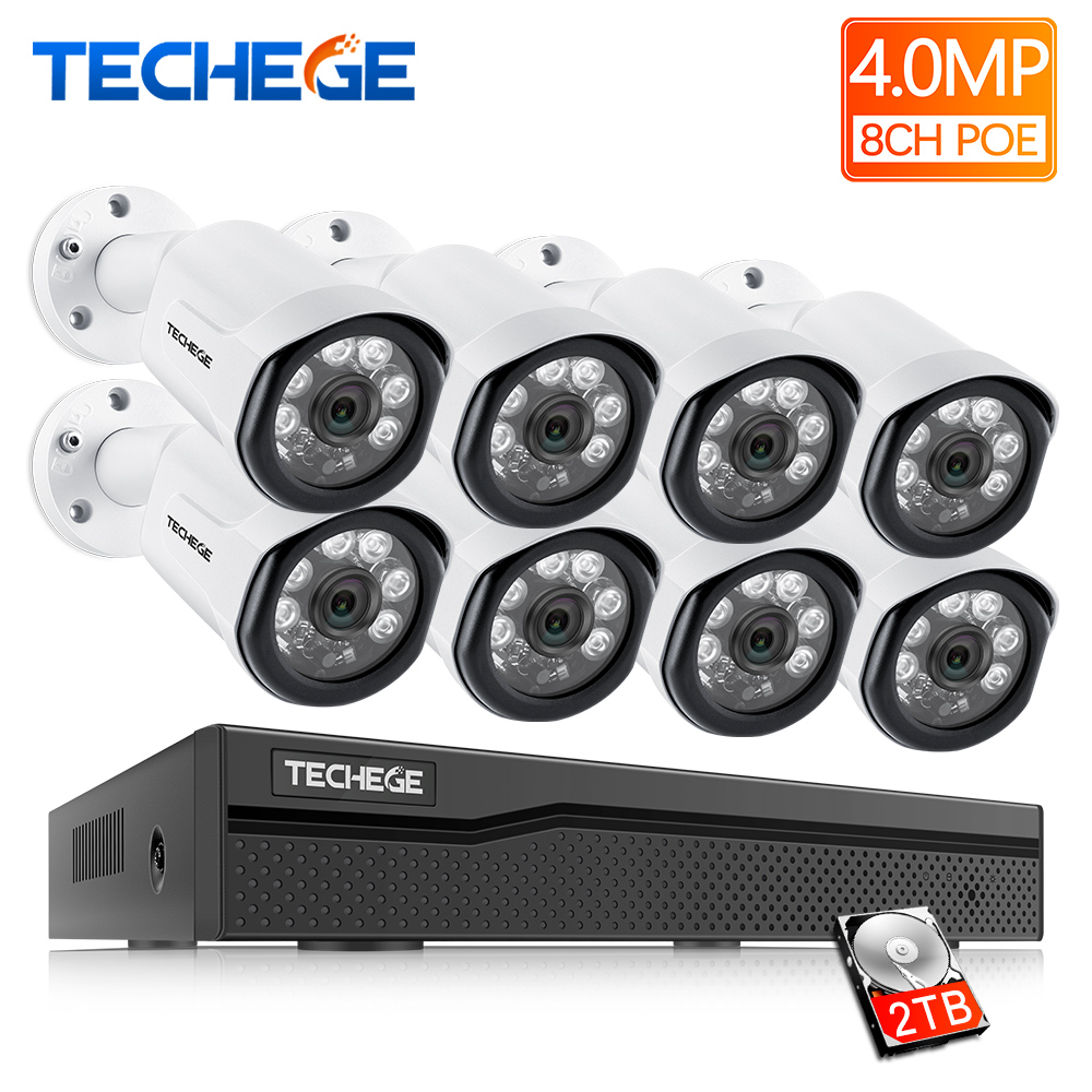 Techege 8CH POE System 4 0MP NVR H 265 Night Vision Outdoor Waterproof Network Camera CCTV