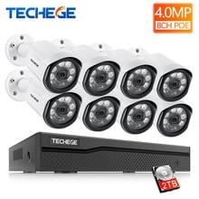 Techege 8CH POE Системы 4.0MP NVR H.265 Ночное видение уличная Водонепроницаемая сетевая камера видеонаблюдения Системы комплект видеонаблюдения