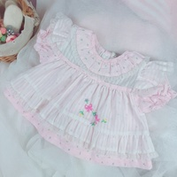 2019summer Spanish Vitange Wind Girl Pink Princess Sweet Doll Dress Pure Cotton Lotus Leaf Collar Embroidered Baby Quality Dress