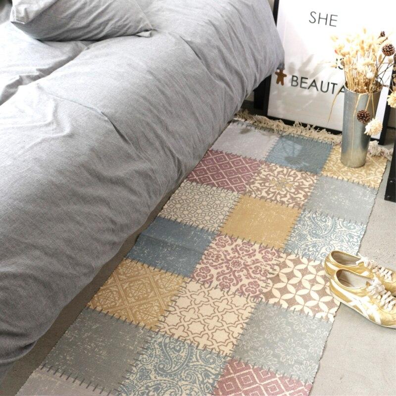High elegant printing design tessel edge cotton area rug for bedside living room tapetes para casa