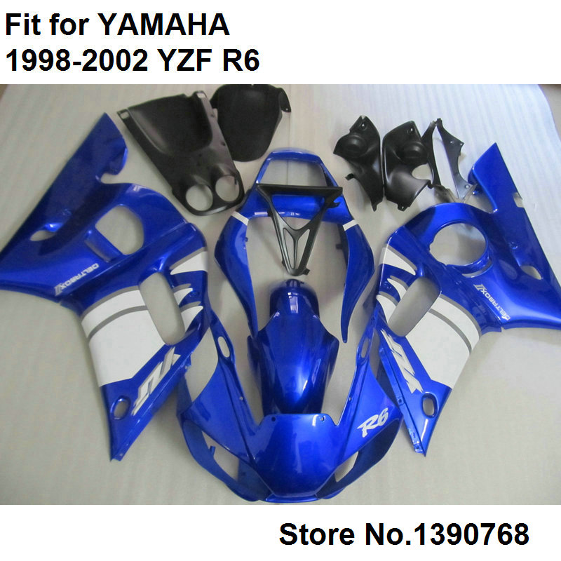 Free custom fairing kit for Yamaha YZF R6 98 99 00 01 02 blue white black motorcycle fairings set YZFR6 1998 2001 2002 LV66
