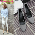 VINLLE 2017 Women Pumps Sweet Flock Spring Western Party Shoes Pointed Toe Thin High Heel Wedding Women Chunky Pumps Size 34-42