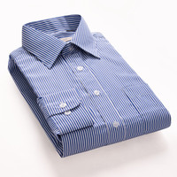 ROMANCE DANDY Striped Fashion Men Dress Shirts Long Sleeve Brand Clothing Social Non Iron Formal Business