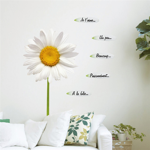 Removable 3D Simulation Daisy Wall Stickers Flowers Home Decor Art ...