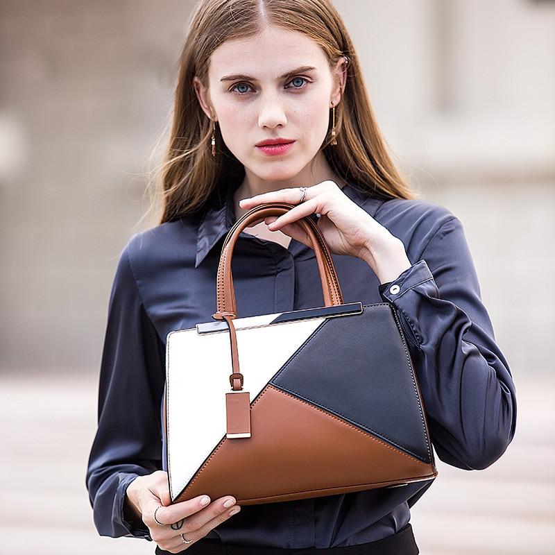 Main Bandoulière Casual noir gris À Grande En Femme brown Lady De Cuir 2018 Capacité Véritable Purple Nouvelle Sacs POqFZ0
