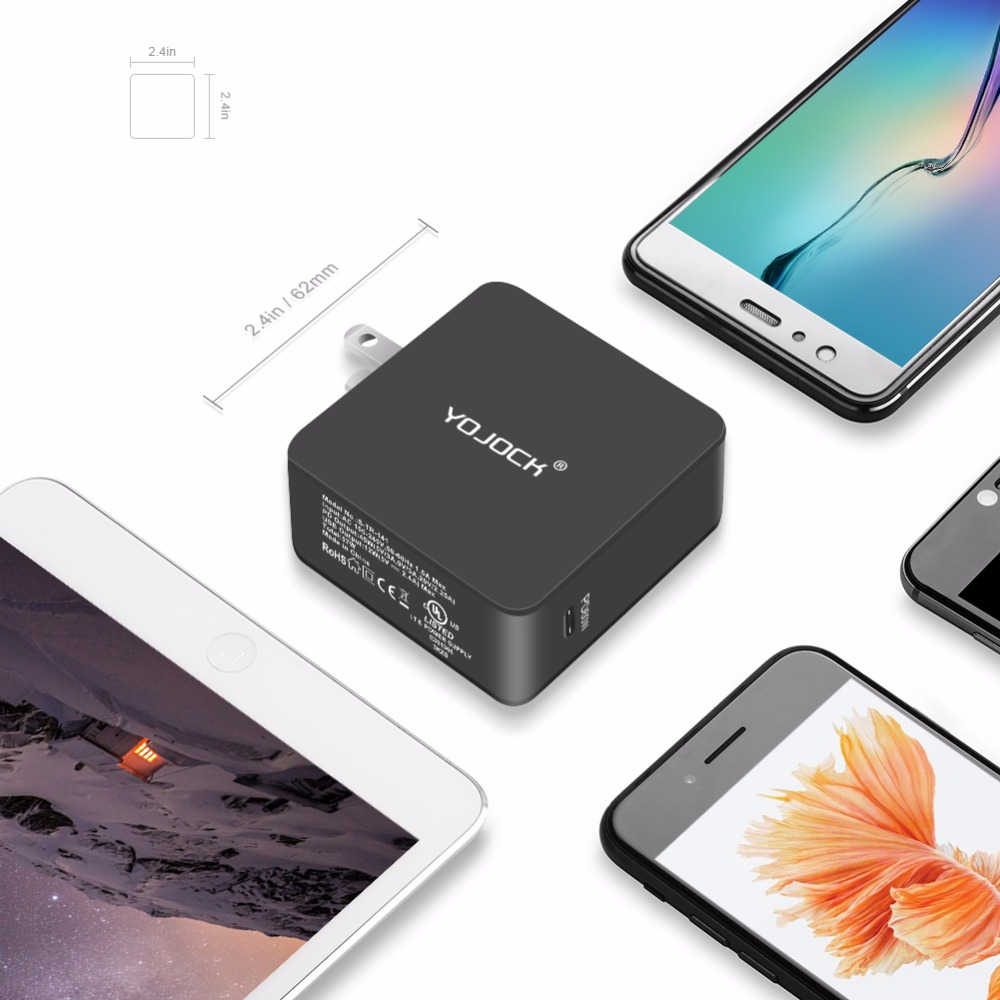 YOJOCK 60W USB Type-C Wall Charger Power Adapter with Power Delivery for Apple MacBook/iPhone X/8 Plus Xiaomi USB-C PD Charger