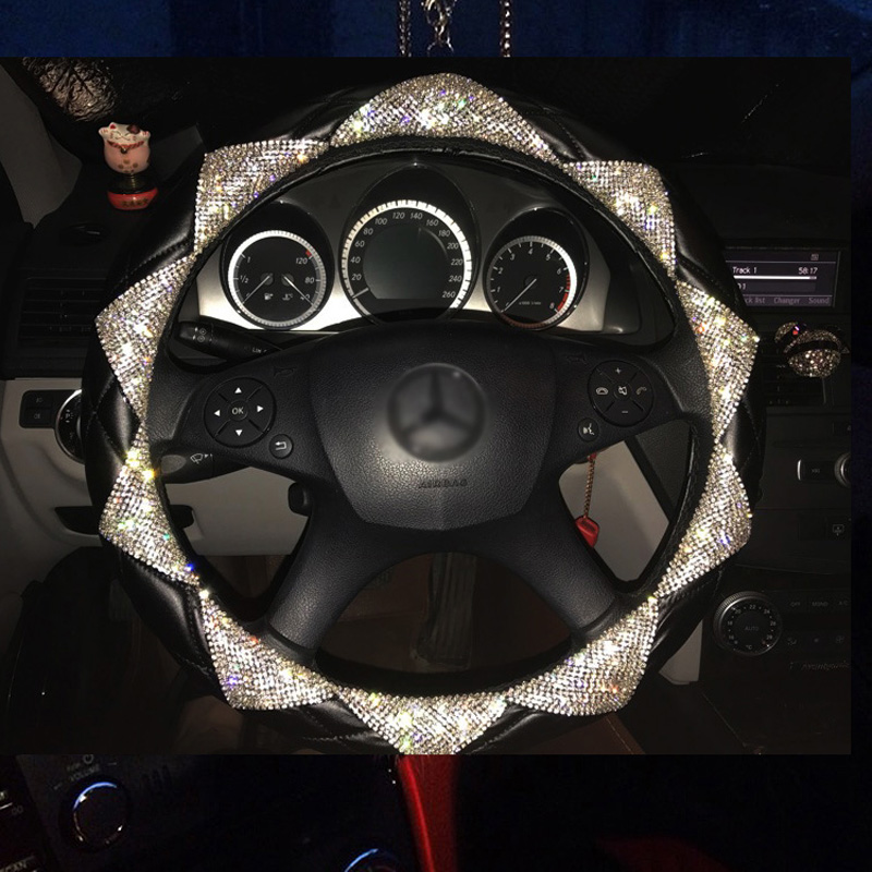 MUNIUREN New Luxury Diamond Leather Car Steering Wheel Covers Women Bling Crystal Auto Handle Cover Interior Accessories