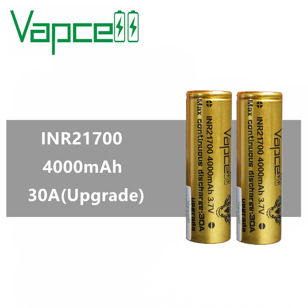 2pcs VAPCELL INR21700 21700 battery 4000mAh rechargeable battery lithium battery 30A Upgrade electric tool smoke mod BATTERYRechargeable Batteries   -