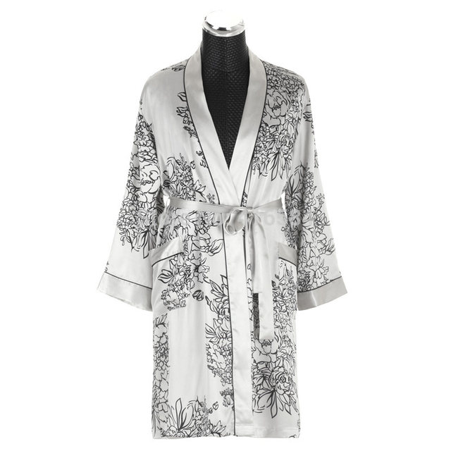 Online Shop Mens Silk Kimono Robe Satin Dressing Gown Men\'s Bathrobe ...